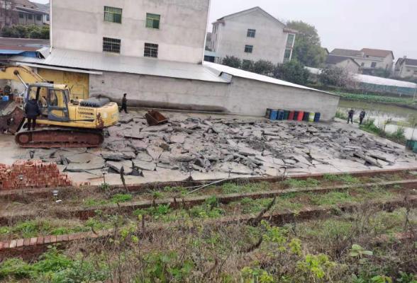 酃湖乡拆除一处乱占耕地违法建筑设施