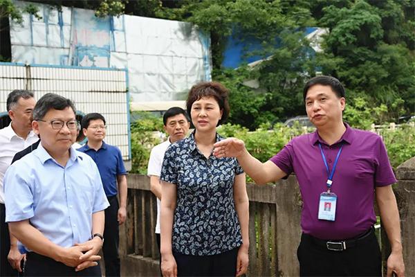 6月9日,省委常委、省委统战部部长黄兰香一行赴湘潭督导防汛工作。