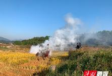 收割机田间作业自燃着火 六都消防迅速扑救
