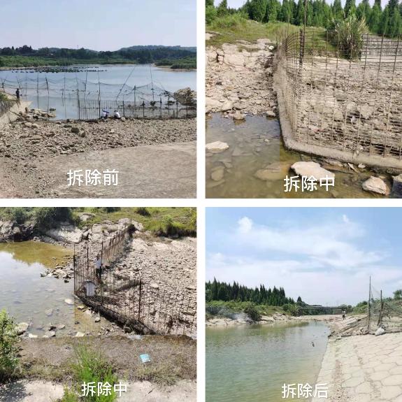 滩头镇依法拆除水库防护网保护行洪道安全